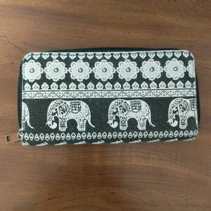 Cotton wallet, elephant print